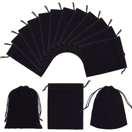 PandaHall Elite 30 Pack Velvet Bags with Drawstring Velvet Jewelry Pouches Bags 4.7X 5.9in Black Velvet Cloth Drawstring Bags for Jewelry Bracelets Watches Storage, Gifts, Packaging