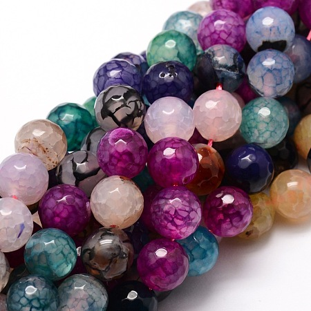 Nbeads Dyed Natural Agate Faceted Round Beads Strands, Colorful, 8mm, Hole: 1mm; about 48pcs/strand, 15.3