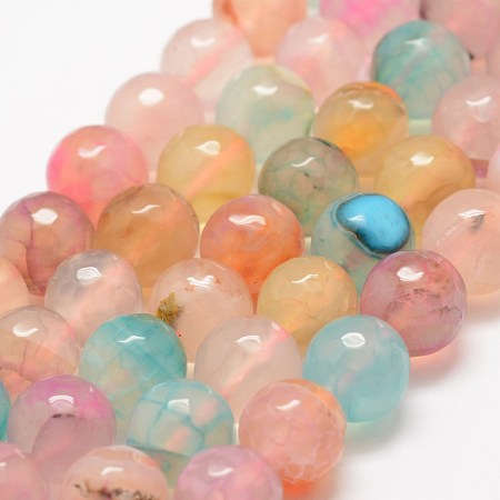 NBEADS Faceted Natural Dragon Veins Agate Beads Strands, Round, Dyed & Heated, Colorful, 10mm, Hole: 1.5mm; about 38pcs/strand, 14