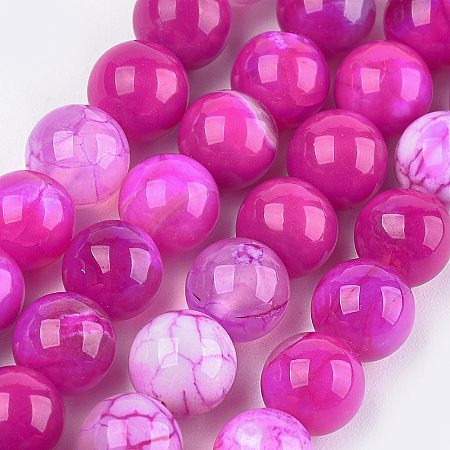 Nbeads Dyed Natural Agate Beads Strands, Round, Magenta, 10~10.5mm, Hole: 1mm; about 38pcs/strand, 15.1
