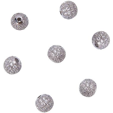 NBEADS 10 Pcs Platinum Cubic Zirconia Beads, 8mm Brass Clear Crystal CZ Stones Pave Micro Setting Disco Ball Spacer Beads Round Charm Beads for Jewelry Making