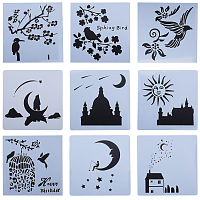 Flower and Bird Theme/Starry Sky CRASPIRE Plastic Painting Stencils, Drawing Template, for DIY Scrapbooking, Mixed Shapes, White, 13x13x0.02cm, 9sheets/set