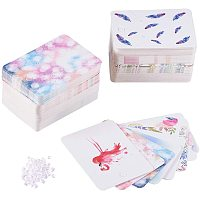 PandaHall 160pcs 8 Colors Necklace & Earring Display Cards, Birds/Feather Rectangle Display Cards with 200pcs Plastic Ear Nuts, 72x51x0.5mm