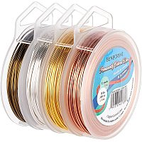 BENECREAT 4 Rolls 18 Gauge Jewelry Wire 4 Colors Tarnish Resistant Copper Wire for Beading Ring Making and Other Jewelry Crafts, 33 Feet/Roll