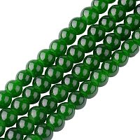 PH PandaHall 20 Strands 6mm Imitation Jade Round Glass Beads Strands Spray Painted Green Glass Beads for Jewelry Crafts Making Party Home Decoration 31.4""