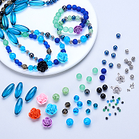 SUNNYCLUE 1 Set 350pcs Necklace Bracelet Round Beads Jewelry Making Kit Blue and Green Beading Supplier Include Pliers, Jewelry findings for Adult, Teen, and Girls