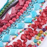 ARRICRAFT Synthetic Turquoise Beads Strands, Dyed, Mixed Shape, Mixed Color, 6~30x6~40x3~17.5mm, Hole: 1~2.5mm; about 10~70pcs/strand, 15 inches~16.1 inches(38~41cm)