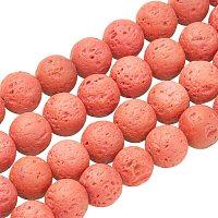 Pandahall Elite 470pcs 8mm Natural Lava Beads Tomato Chakra Bead Strand Dyed Round Gemstone Loose Beads Energy Healing Beads for Jewelry Making