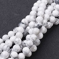 """NBEADS 10 Strands Gemstone Beads Strands, Natural Howlite Round Beads, White, About 8mm in Diameter, Hole: About 1mm, 15~16"""""""