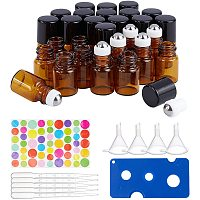 BENECREAT 30 Pack 2ml Amber Glass Roller Bottle with Black Cap Mini Brown Essential Oil Roll on Bottle with 4 Hoppers, 1 Opener, 10pcs 3ml Droppers and 1 Sheet Sticker for Aromatherapy Perfume