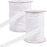 PandaHall Elite 2 Rolls 50 Yard/Roll Polyester Sewing Snap Fastener Tape Snap Ribbon Zipper Fasteners with Plastic Buttons for Sewing DIY Accessories, White