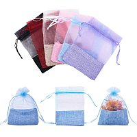 PandaHall Elite 24pcs 6 Colors Organza Bags with Cloth Bottom Drawstring Pouches Gift Favor Bags Jewelry Pouches Sacks for Wedding Party Shower Birthday Christmas