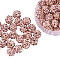 ARRICRAFT 100 Pcs 10mm Light Peach Shamballa Pave Disco Ball Clay Beads, Polymer Clay Rhinestone Beads Round Charms Jewelry Makings