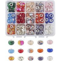 NBEADS 116 Pcs Resin European Beads, 15 Kinds of Large Hole Beads Crackle Rondelle European Spacer Beads for Jewelry Making