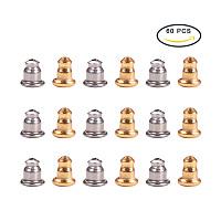 Pandahall Elite 60PCS Earrings Findings Bullet Earring Safety Backs 304 Stainless Steel Earnuts, Golden and Original Color