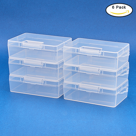 BENECREAT 6 Pack Clear Plastic Box Clear Storage Case Collection Organizer Container with Hinged Lid and Hangers For Organizing Small Parts Office Supplies Clip - 3.93x2.75x1.3 Inches