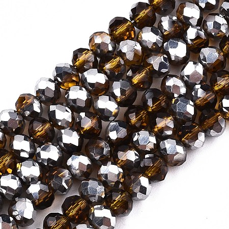ARRICRAFT Electroplate Glass Beads Strands, Half Platinum Plated, Faceted, Rondelle, Goldenrod, 4x3mm, Hole: 1mm, about 137pcs/strand, 18.11 inches(46cm)