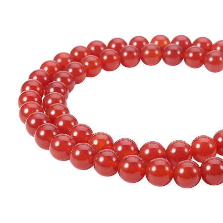 PandaHall Elite 8mm Natural Carnelian Bead Strands Grade A Round Loose Beads Approxi 15.5 inch 48pcs 1 Strand for Jewelry Making