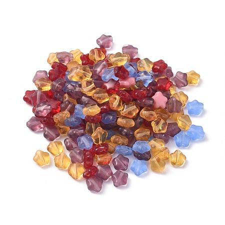 NBEADS Czech Lampwork Beads, Star, Mixed Color, 6x6x3.5mm, Hole: 0.9mm, about 357pcs~363pcs/bag