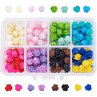 Arricraft 160pcs 16 Colors Rose Flowers Beads Buttons Flat Base Resin Flower Jewelry Beads Embellishments Flower Flatback Cabochons for DIY Crafts, Scrapbooking, Jewelry Making