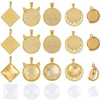PandaHall Elite 30pcs 5 Style Bezel Pendant Trays Cabochon Pendant Setting with 30pcs Transparent Glass Cabochons Clear Cabochons Tiles for Jewelry Craft Making