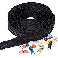 BENECREAT 6.5 Yards #5 Plastic Zipper Nylon Resin Zipper with 24PCS Mixed Color Zinc Alloy Zipper Slider for DIY Sewing Tailor Crafts Bags Tents, Black