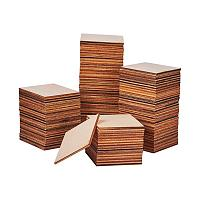 PandaHall Elite 120 pcs 5cm(2 inch) Unfinished Blank Wood Squares Slices Wood Cutouts Pieces for Pyrography Painting Writing DIY Arts Craft Project Book Signing