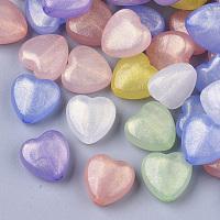 Arricraft Transparent Acrylic Beads, Glitter Beads, Heart, Mixed Color, 14x14x7mm, Hole: 1.8mm