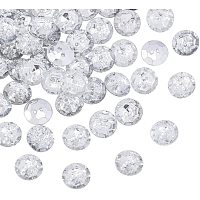 Acrylic Rhinestone Buttons, 2-Hole, Faceted, Flat Round, Crystal, 13x3.5mm, Hole: 1.6mm