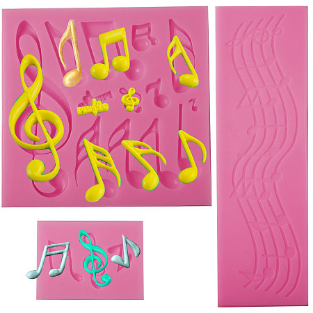 SUNNYCLUE Food Grade Silicone Molds, Fondant Molds, For DIY Cake Decoration, Chocolate, Candy, Soap, UV Resin & Epoxy Resin Jewelry Making, Music Note, Deep Pink, 190x59x3mm, 108x112x10mm, 43x59x6mm; 3pcs/set