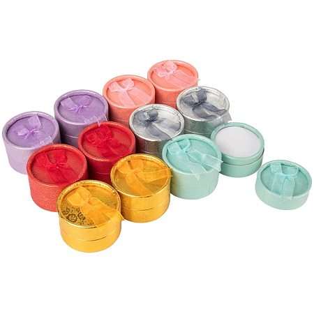 BENECREAT 24 PCS Round Gift Boxes Kraft Earring Boxes Small Ring Jewelry Boxes with Bows for Birthday, 6 Assorted Color