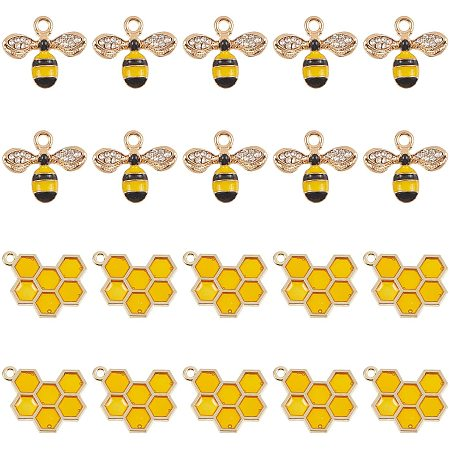 NBEADS 20 Pcs Alloy Enamel Bee Charms Jewelry Making Bee Pendant Charms Honeycomb Charms Pendants for Jewelry Making Crafts DIY