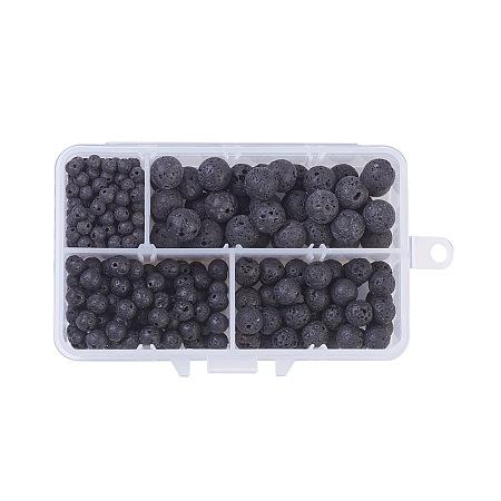 Natural Lava Beads, Round, 4mm, 6mm, 8mm, 10mm; 350pcs/box