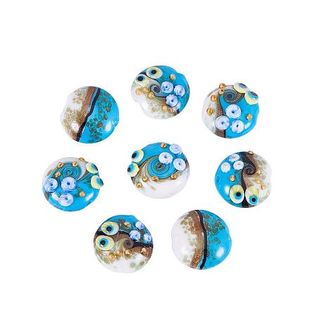 ARRICRAFT 1 Box(12pcs) Ocean Style Flat Round Handmade Lampwork Glass Beads RoyalBlue, 20x9~10mm, Hole: 1.5mm