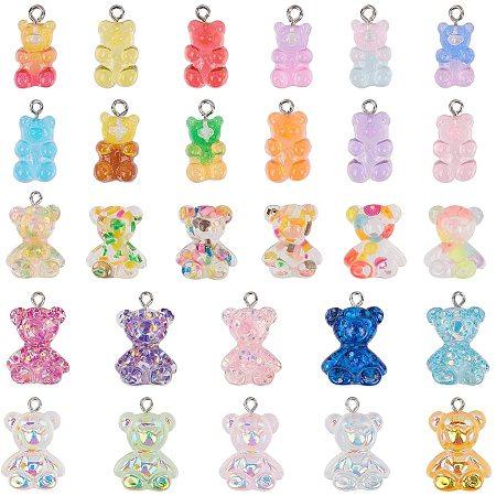 NBEADS 56 Pcs Gummy Bear Charms, Bear Candy Charm Resin Gummy Bear Resin Bear Pendant Keychains for DIY Jewelry Necklace