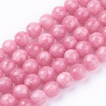 Nbeads Natural Jade Bead Strands, Dyed, Faceted, Round, PearlPink, 8mm; Hole: 1mm; 48pcs/strand, 14.9