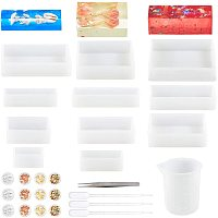 PandaHall Elite Silicone Resin Casting Molds, 11pcs Square Rectangular Silicone Molds, Tinfoil Measuring Cup Tweezers Sticks Pipettes and Latex Finger Cots for DIY Crafting, Resin Epoxy, Jewelry Making