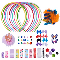SUNNYCLUE 1 Set 80+ pcs DIY Fashion Headbands Kit Kids Art and Crafts Kits, Women Girls Jewelry Making Kit - Decorated with Hair Accessories Ribbon Bowknot Feather- Make 12 Headband