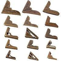 PandaHall Elite 60 pcs 15 Styles Iron Corner Protectors Guard Edge Cover, Metal Furniture Decorative Cover Pad for Desk Jewelry Case Box Book Scrapbooking Albums Menus Triangle Carved, Antique Bronze