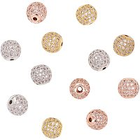 NBEADS 12 Pcs About 9.5~10mm Round Brass Zirconia Beads 3 Colors Micro Pave Cubic Zirconia Ball Spacer Beads for Jewelry Making