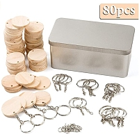 SUNNYCLUE DIY Keychain Making Kits, with Unfinished Wood Pendants, Iron Split Key Rings and Brass Jump Rings, Flat Round, Platinum, Pendants: about 34.5x3.5mm, hole: 1mm, 50pcs/set