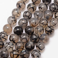 Arricraft Natural Dragon Veins Agate Bead Strands, Round, Grade A, Dyed & Heated, Coffee, 8mm, Hole: 1mm, about 47pcs/strand, 15 inches
