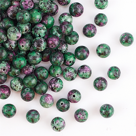 Olycraft Natural Ruby in Zoisite Beads Strands, Dyed, Round, 8mm, Hole: 1mm; about 100pcs/box