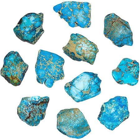 NBEADS 1 Strand Jasper Gemstone Beads, Ocean Blue Impression Aqua Terra Jasper Gemstone Flat Slab Stone Beads for DIY Bracelets Necklaces Jewelry Making, About 7pcs/Strand