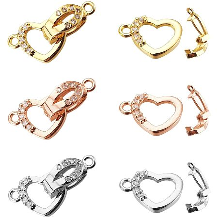 NBEADS 6 Sets of Brass Cubic Zirconia Fold Over Clasp, 3 Colors Heart Brass Clasp Extension with Cubic Zirconia for Bracelets Necklaces Jewelry Making Crafts