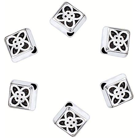 PandaHall Elite 300pcs Rhombus Flower Spacer Beads Tibetan Alloy Antique Silver Jewelry Spacers for Bracelet Necklace DIY Jewelry Making, 6x6.5mm, Hole: 1mm