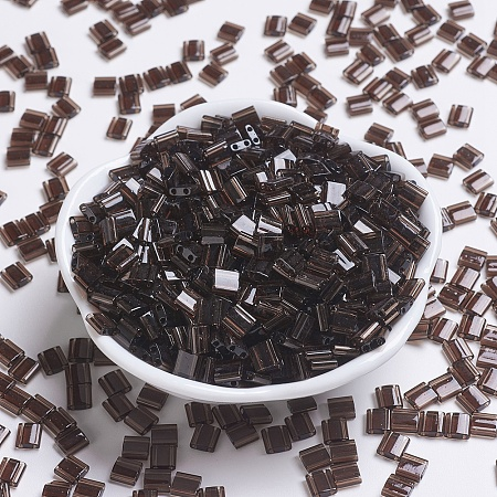 MIYUKI TILA Beads, Japanese Seed Beads, 2-Hole, (TL135) Transparent Root Beer, 5x5x1.9mm, Hole: 0.8mm; about 118pcs/10g