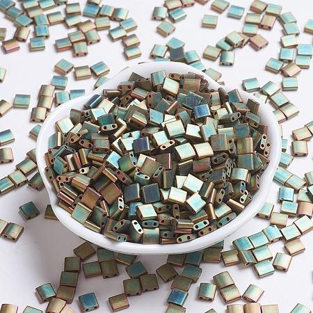 MIYUKI TILA Beads, Japanese Seed Beads, 2-Hole, (TL2035) Matte Metallic Khaki Iris, 5x5x1.9mm, Hole: 0.8mm; about 118pcs/10g
