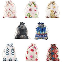 PandaHall Elite 32pcs 8 Styles Printed Drawstring Bags 14x10cm Polyester Cotton Pouches Favor Bag for Party Gift Small Item Packing