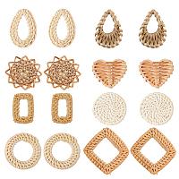 SUNNYCLUE Handmade Reed Cane/Rattan Woven Pendants Sets, Mixed Shapes, Mixed Color, 16pcs/set
